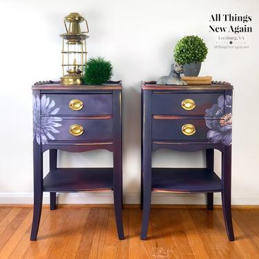 Purple Nightstands | Purple Bedside Tables | Purple Boho Bedroom Furniture | Purple End Tables | Purple Side Tables | Boho Nightstands by AllThingsNewAgainVA