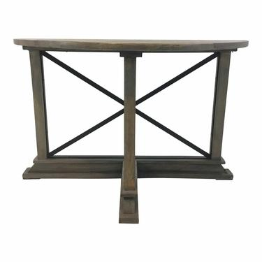 Industrial Modern Reclaimed Wood Trestle Demi-Lune Console Table