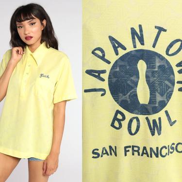 Bowling Uniform Shirt Japantown San Francisco Shirt 70s Shirt Jack Name Shirt Bowling Rockabilly Punk 1970s Button Up Vintage Yellow Large by ShopExile