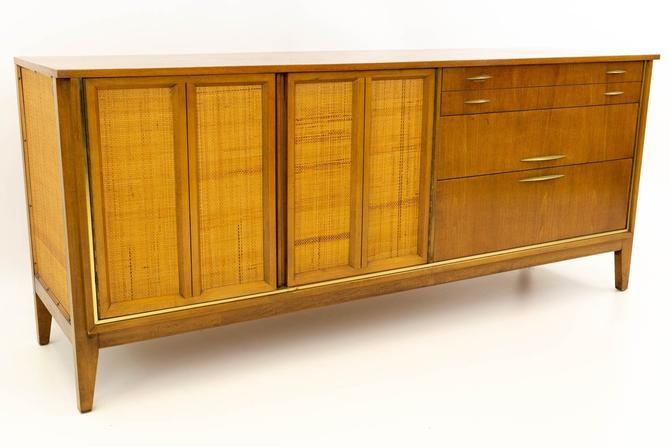 Paul McCobb Style Mid Century Caned, Walnut & Brass Lowboy Dresser from West Michigan Furniture Company by ModernHill
