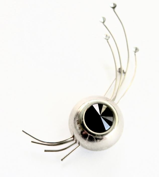 Black Lucite Modernist Silver Rhinestone Brooch by LegendaryBeast