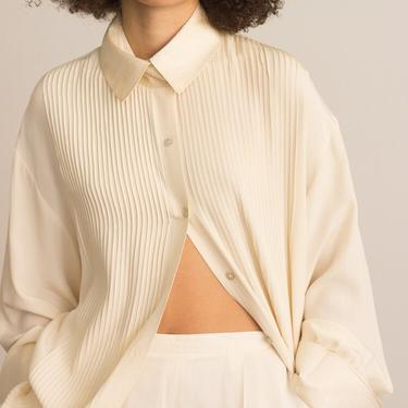 1980s Oversize Creme Pintuck Silk Blouse with French Cuffs by waywardcollection