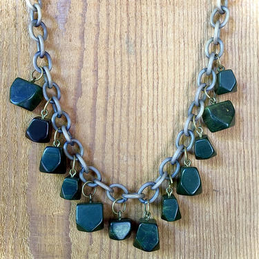 Marbled Forest Green Bakelite Chunky Necklace on Celluloid Chain by BellewoodDesignGoods