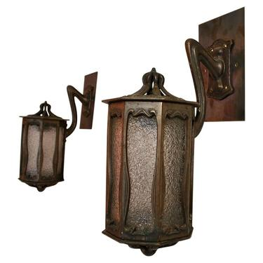 Very Rare Small Pair of French Bronze Art Nouveau Outdoor/Indoor Sconces