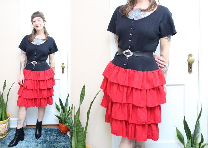 Vintage 80's Black and Red Ruffle Dress / 1980's Valentine Dress / Women's Size Medium by RubyThreadsVintage