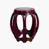 Chinese Red Brown Mahogany Mother of Peal Round Barrel Stool cs5269S