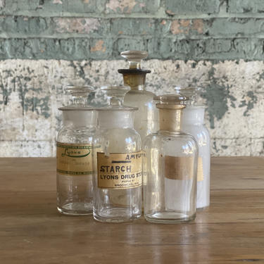 Vintage Clear Medicinal Bottle Lot Wisconsin Apothecary Pharmacy Decor Display by NorthGroveAntiques