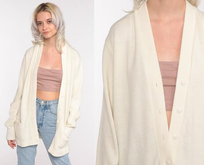 Off-White Sweater 60s Cardigan Boho Sweater Plain Button Up Champion Cardigan 1960s Slouchy Acrylic Knit Vintage Men's Large by ShopExile