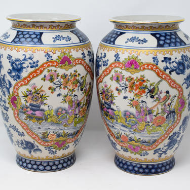 Pair of Large Asian Chinoiserie Vases by CapitolVintageCharm