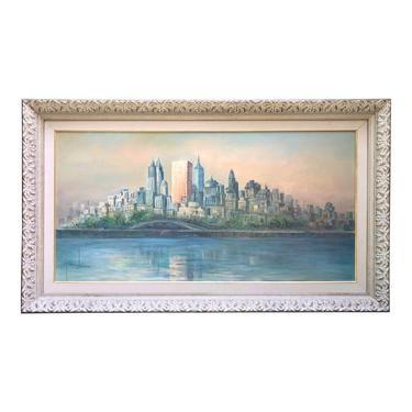 Mid Century Cityscape Painting NYC Oversized Art