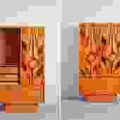 Brutalist MCM tall dresser / armoire