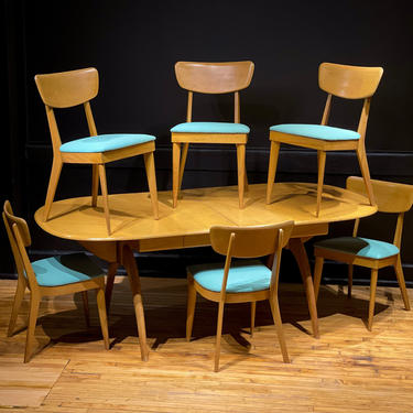 Vintage Heywood Wakefield Drop Leaf Wishbone Butterfly Dining Set Table Leaves Mid Century Modern Expanding Wishbone Wood Dining Chairs by MidMod414