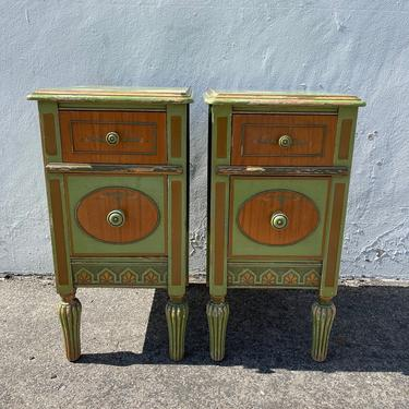 Pair of Nightstands Victorian French Provincial Empire Antique Shabby Chic Finish Storage Bedside Tables Country Bedroom CUSTOM PAINT AVAIL by DejaVuDecors