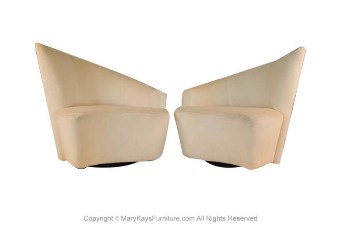 Pair Vladimir Kagan Weiman Preview Bilbao Swivel Lounge Chairs by Marykaysfurniture