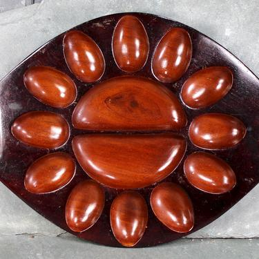 Solid Wood Deviled Egg Tray - Haitian Wood Serving Dish - Produced for Holy Trinity School Port au Prince Haiti | FREE SHIPPING by Bixley