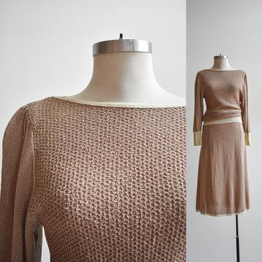 1970s Beige Knit 2pc Set by milkandice