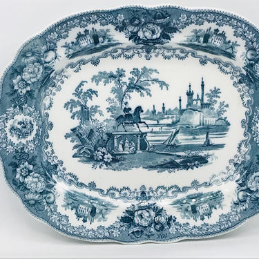 """Vintage Large Wood & Brownfield """"Grecian Statue"""" Staffordshire Transferware Platter- Green- Rare Find Excellent Condition by JoAnntiques"""