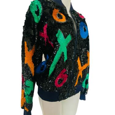 90s Vintage TIC TAC XOXO Jacket, sequin and beaded neon color bomber jacket, black sequin beaded Art Deco coat, unisex men's women's vintage by RETROSPECTNYC