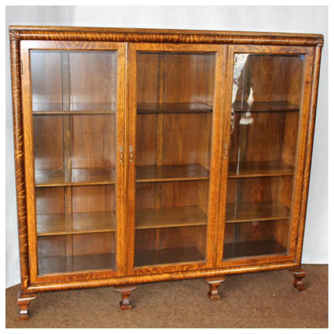 F4461  Antique 1890-1920's  American Golden Oak Triple Door Bookcase Display Cabinet by bbbantiques