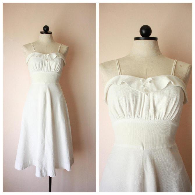 30s White Cotton Pique Sundress Spaghetti Strap Empire Waist Size XS by NoSurrenderVintage