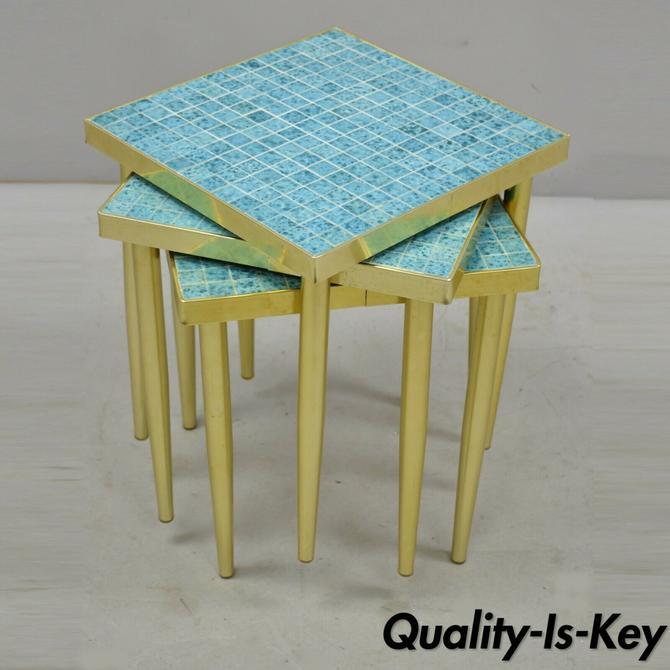 Set 3 Vintage Mid Century Italian Modern Brass Blue Mosaic Tile Top Side Tables
