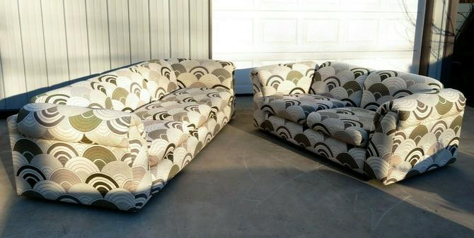 VTG Mid Century 2-PIECE SOFA SET Retro Couch SPACE AGE Panton Heals Fabric ART