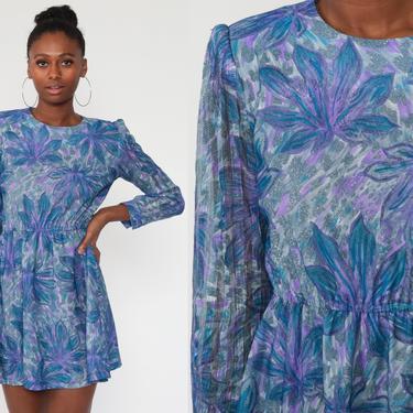 80s Floral Dress Blue Mini Boho PUFF SLEEVE Dress Purple Print Dress Romantic Vintage 1980s High Waisted Bohemian Semi-Sheer Medium by ShopExile