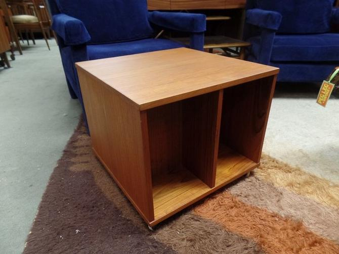Danish Modern Teak Rolling Record Storage Side Table From Peg Leg