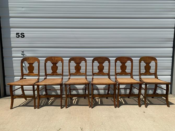 Set of 6 Antique Chairs Wood Cane Seat Traditional Style Vintage Farmhouse Rustic Primitive Dining Seating Bohemian Boho Chic Wood Frame by DejaVuDecors