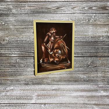Vintage Matador Black Velvet Painting, Velvet Torero Oil Painting, Signed Spanish Bullfighter Framed Art, Retro Home, Vintage Wall Decor by AGoGoVintage