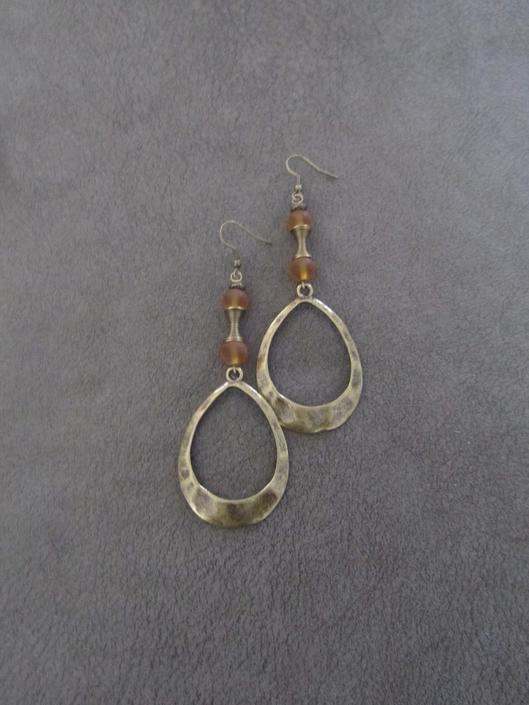 Large bold earrings, bronze hoop earrings, hammered brass dangle earrings, statement earrings, mid century modern earrings, African boho by Afrocasian