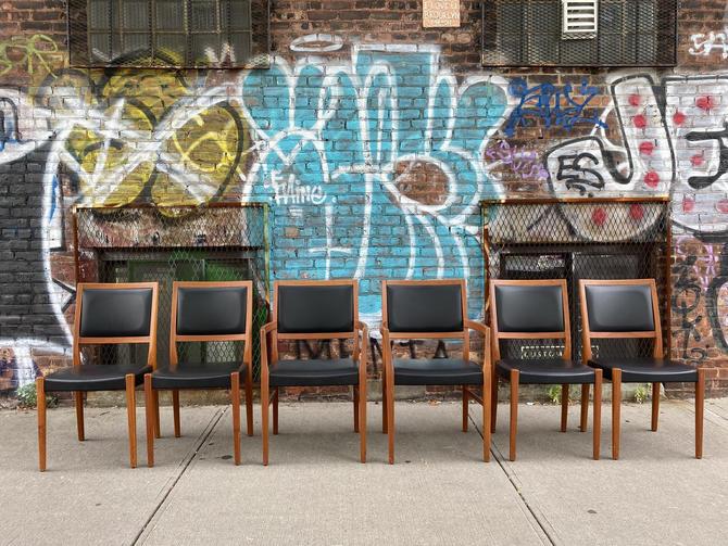 Set of 6 Midcentury Swedish danish Teak Dining side Chairs with black vinyl by symmetrymodern