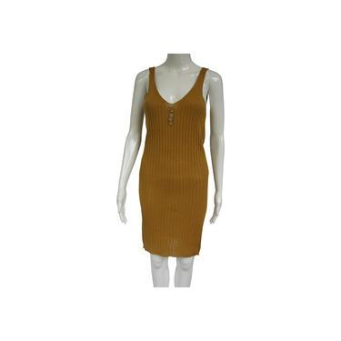 Made in Italy Mustard Yellow Rib Knit V-neck Sleeveless Rib Knit Knee-length Short Casual Dress Size: 4 (S) by MetronomeThreads