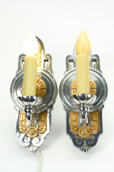 Polished Lincoln Art Deco Sconces, Two Pair available #2106  FREE SHIPPING by vintagefilament