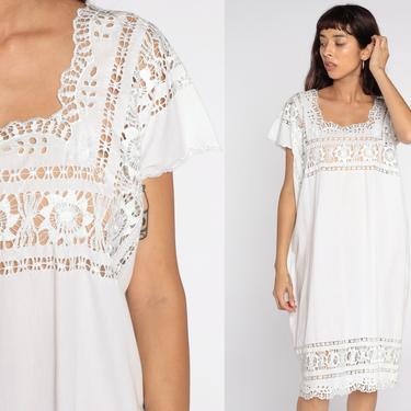 Sheer Cutwork Dress White Mini Dress Tunic Embroidery Boho Cut Out Hippie Mesh 80s Cutout Floral Bohemian Vintage Medium Large xl by ShopExile