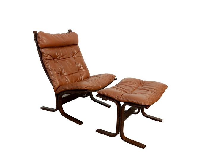 Leather Lounge Chair and Ottoman Westnofa Siesta Chair Ingmar Relling Danish Modern by HearthsideHome