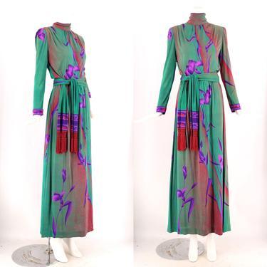 70s LEONARD Paris maxi gown / vintage 1970s silk jersey green purple orchid print floral maxi dress fringe sash  Large by ritualvintage