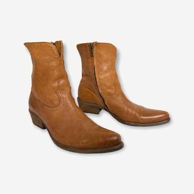 Vintage FRYE Leather Ankle Boots ~ men's 8 1/2 B ~ women's 9 1/2 to 10 ~ Shoes ~ Zipper / Zip-Up ~ Western / Beatle / Mod by SparrowsAndWolves