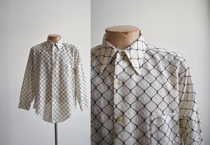 1970s White & Navy Blue Polyester Shirt by milkandice