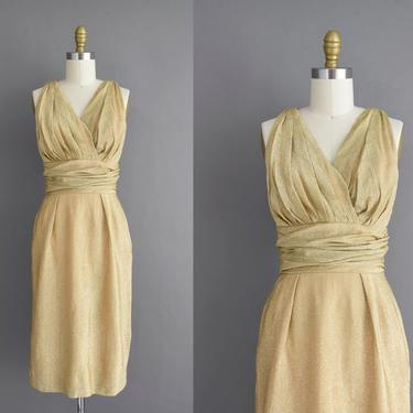 vintage 1950s dress | Gorgeous Sparkly Champagne Gold Lurex Holiday Cocktail Party Dress | Small | 50s vintage dress by simplicityisbliss