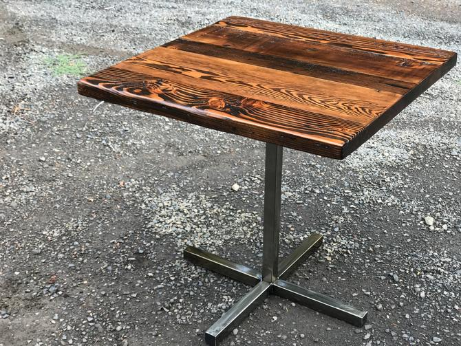 Industrial pub table. Bar table. Reclaimed wood table. Restaurant Table. Bistro Table. Pedestal Table. Dining table. Industrial Cafe Table. by UrbanIndustrialNW