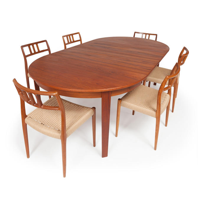 Vintage Danish Teak Dining Table With Six Niels Otto Møller Model #79 Teak Dining Chairs by MCMSanFrancisco