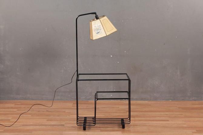 Atomic Metal & Glass Side Table Floor Lamp