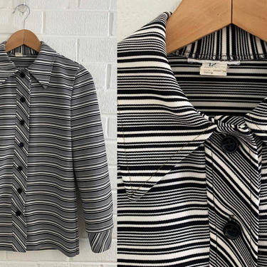 True Vintage Black and White Striped Collared Lightweight Jacket Shirt Button Front Long Sleeve Top Pointed Collar 70s Unisex Large Medium by CheckEngineVintage