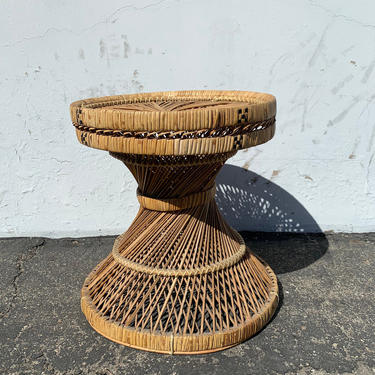 Rattan Stool Bentwood Peacock Style Ottoman Footrest Rattan Hassock Wood Vintage Seating Mid Century Furniture Bohemian Boho Chic by DejaVuDecors