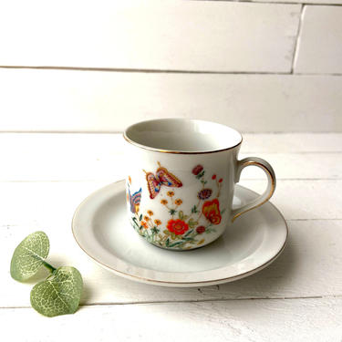 Vintage Trina Porcelain Butterfly And Flower Teacup   Rustic, Farmhouse, Cottagecore, Retro Teacup, Tea Lover Gift, Tea Set Collectible by CuriouslyCuratedShop