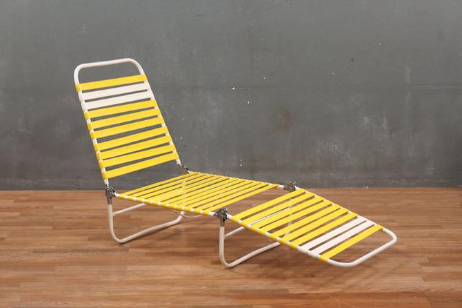 Retro Yellow Straps Folding Lounge Chair