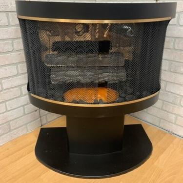 Mid Centry Modern Black Vent Free Ethanol Biofuel Freestanding Indoor Fireplace