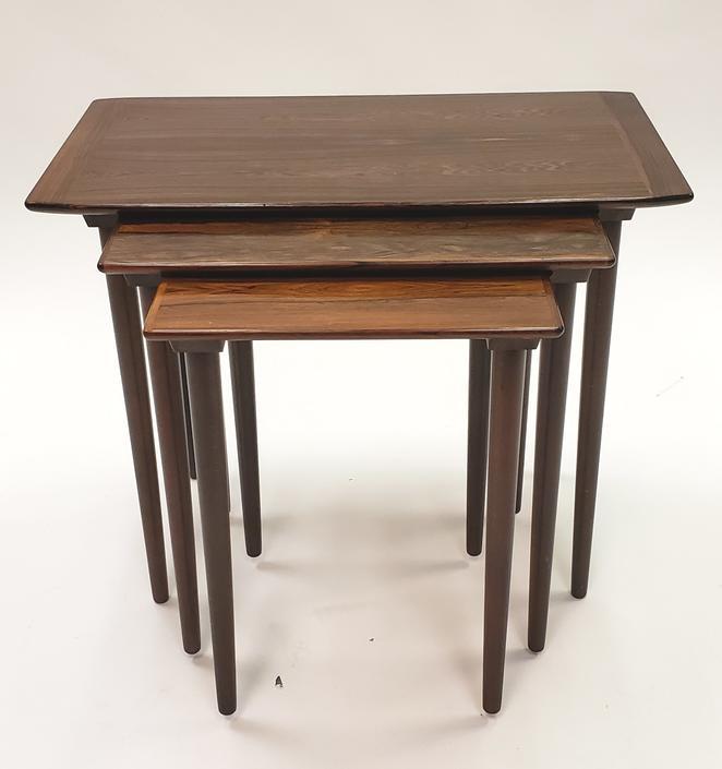 Set of 3 Danish Modern Rosewood Nesting Tables