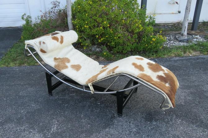 Modway Charles Gravity Chaise Lounge Brown and White Cowhide 2055